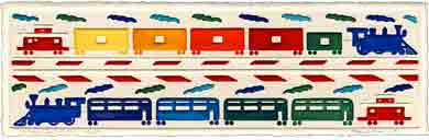 trains keep rolling embossed transportation art for kids and children, embossed transportation gifts for babies and nurseries, paintings for baby and child, pictures for nursery and kids and fine art prints for child, baby and nursery by artists Jane Billman and Gregg Billman